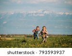 two kids  little brother and... | Shutterstock . vector #793593937
