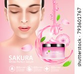 sakura nature cream serum ...   Shutterstock .eps vector #793601767