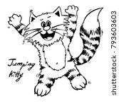 extra happy dreamer jumping cat.... | Shutterstock .eps vector #793603603