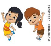 set of kids jumping in the air...   Shutterstock .eps vector #793615363