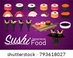 sushi rolls flat food and... | Shutterstock .eps vector #793618027