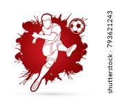 soccer player shooting a ball... | Shutterstock .eps vector #793621243