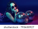 sexy disco party woman.... | Shutterstock . vector #793630927