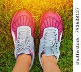 sport running shoes with grass... | Shutterstock . vector #793638127