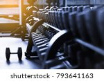 rows of dumbbells in the gym.... | Shutterstock . vector #793641163