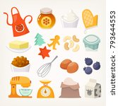 set of colorful utensils and... | Shutterstock .eps vector #793644553