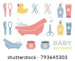 baby bathing and care. set of...