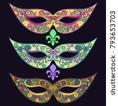 set of carnival masks. mardi... | Shutterstock .eps vector #793653703