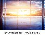 empty airport terminal lounge... | Shutterstock . vector #793654753