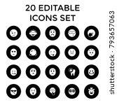 smile icons. set of 20 editable ... | Shutterstock .eps vector #793657063