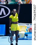 Small photo of MELBOURNE, AUSTRALIA - JANUARY 24, 2016: Twenty one times Grand Slam champion Serena Williams celebrates victory after her round 4 match at Australian Open 2016 at Rod Laver Arena in Melbourne