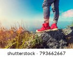close up of red shoes of... | Shutterstock . vector #793662667