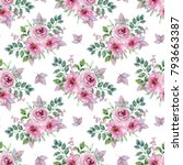 watercolor floral seamless... | Shutterstock . vector #793663387