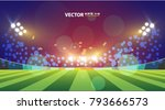 sports stadium with lights ... | Shutterstock .eps vector #793666573