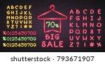 big sale neon light glowing... | Shutterstock .eps vector #793671907