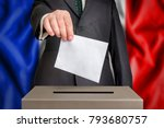 election in france   voting at... | Shutterstock . vector #793680757
