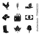 country economy icons set.... | Shutterstock .eps vector #793682323