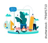 design studio team  designing ... | Shutterstock .eps vector #793691713