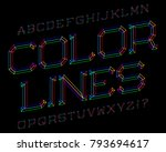 color lines typeface. colorful... | Shutterstock .eps vector #793694617