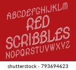 red scribbles typeface. black... | Shutterstock .eps vector #793694623