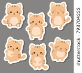 Stock vector vector set of cute cats on white background cats made in cartoon style 793704223
