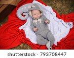 sweet little baby dressed in...   Shutterstock . vector #793708447