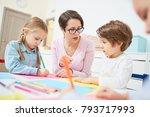kindergarten teacher showing...   Shutterstock . vector #793717993