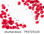 Stock photo flowers composition frame made of rose flowers confetti on white background valentines day 793725133