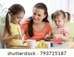 children kids girls and mother... | Shutterstock . vector #793725187