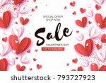 valentine's day sale. offer ... | Shutterstock .eps vector #793727923