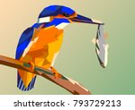 bird kingfisher on a branch...   Shutterstock .eps vector #793729213