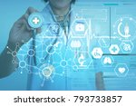 woman doctor with stethoscope... | Shutterstock . vector #793733857