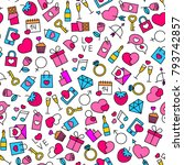 seamless pattern with valentine'... | Shutterstock .eps vector #793742857
