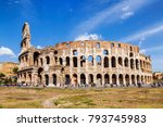 tourists at the walls of the... | Shutterstock . vector #793745983