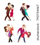 funny couples dancing latin and ... | Shutterstock .eps vector #793754467
