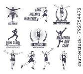 sport labels at marathon runner ... | Shutterstock .eps vector #793754473