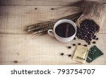 hot coffee cup with coffee...   Shutterstock . vector #793754707