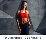 portrait of fit woman standing  ... | Shutterstock . vector #793756843