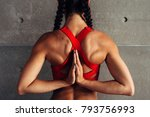 close up fit woman with arms... | Shutterstock . vector #793756993