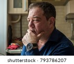 sad 45 50 years old man in the... | Shutterstock . vector #793786207