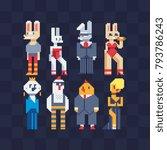 fashion animals  furry art. hen ... | Shutterstock .eps vector #793786243