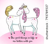 greeting card with cute magic... | Shutterstock .eps vector #793789537