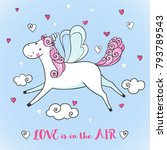 greeting card with cute unicorn ... | Shutterstock .eps vector #793789543