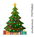 christmas tree decorated with... | Shutterstock . vector #793796863