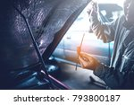 technician working on checking... | Shutterstock . vector #793800187