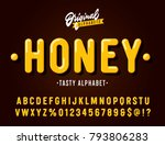 'Honey' Vintage Sans Serif  Rounded Alphabet. Retro Typography with Rich Colors and Juicy Tasty Look. Vector Illustration. | Shutterstock vector #793806283
