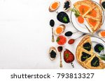 pancakes with caviar. on a... | Shutterstock . vector #793813327