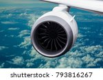 engine of the on sky plane... | Shutterstock . vector #793816267