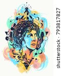 aphrodite color tattoo. symbol...   Shutterstock .eps vector #793817827