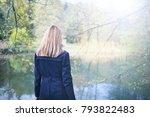blonde woman in blue coat...   Shutterstock . vector #793822483